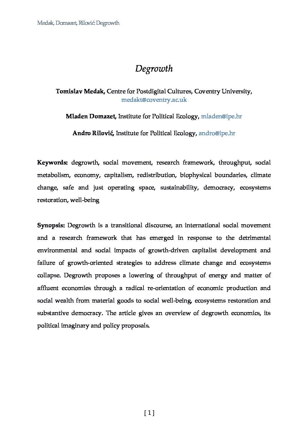 "<a href=""http://ipe.hr/wp-content/uploads/2019/10/Degrowth_Medak-et-al.pdf"">Medak, Domazet, Rilović (2019) ""Degrowth"" - DRAFT, do not cite or distribute</a>"